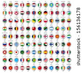 map gray marker with flags.... | Shutterstock .eps vector #156136178
