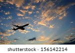 silhouette of an airplane with... | Shutterstock . vector #156142214