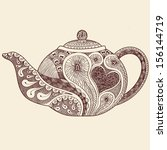 patterned teapot drawing  | Shutterstock .eps vector #156144719