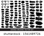 set of black paint  ink brush... | Shutterstock .eps vector #1561489726