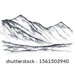 wild landscape  hand drawn with ...   Shutterstock . vector #1561503940
