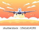 big airplane taking off with... | Shutterstock .eps vector #1561614190
