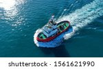 Aerial Drone Photo Of Tug Boat...