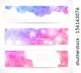 set of pink abstract vector... | Shutterstock .eps vector #156163076