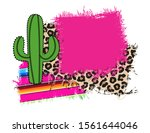 festive frame with a cactus... | Shutterstock .eps vector #1561644046