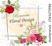the rose elegant card. doodle.  ... | Shutterstock .eps vector #1561673986