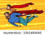 dad and son are superheroes.... | Shutterstock .eps vector #1561684660