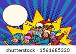 santa claus with children.... | Shutterstock .eps vector #1561685320