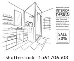 sketch bathroom interior.... | Shutterstock .eps vector #1561706503