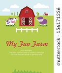 my fun farm card design. vector ... | Shutterstock .eps vector #156171236