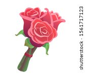 three roses bouquet on isolated ... | Shutterstock .eps vector #1561717123