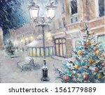 Oil Painting   Beautiful Snowy...