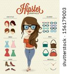 hipster girl character with...