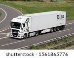 WIEHL, GERMANY - JUNE 25, 2019: Roza MAN TGX truck with temperature controlled trailer on motorway. - stock photo