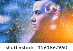 Small photo of Double multiply exposure abstract portrait of young woman face with galaxy universe space inside head. Human mind spirit, ai brain, astronomy, ask question answer concept Elements image furnished NASA