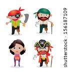 set of 4 unique pirate vectors...   Shutterstock .eps vector #156187109