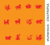 red zodiac signs in yellow... | Shutterstock .eps vector #1561956916