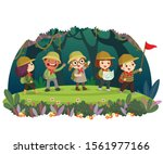 group of kid travelers with... | Shutterstock .eps vector #1561977166