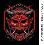 kabuki illustration. red devil... | Shutterstock .eps vector #1561977229
