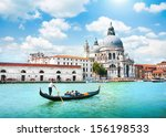 gondola on canal grande with... | Shutterstock . vector #156198533