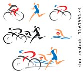 icons symbolizing triathlon ...