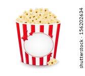popcorn in cardboard box with... | Shutterstock .eps vector #156202634