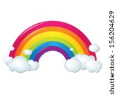 color rainbow with clouds  with ... | Shutterstock .eps vector #156204629
