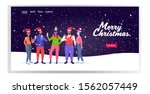 mix race people in santa claus... | Shutterstock .eps vector #1562057449