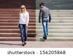 young fashionable couple on the ... | Shutterstock . vector #156205868