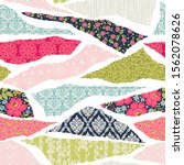 seamless pattern with patchwork ...   Shutterstock .eps vector #1562078626