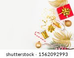 champagne glass with gold... | Shutterstock . vector #1562092993