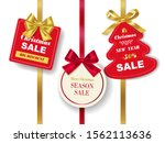 set of realistic red christmas...   Shutterstock .eps vector #1562113636