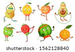 fruit characters yoga. fruits... | Shutterstock . vector #1562128840