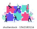 puzzle teamwork. people work... | Shutterstock .eps vector #1562183116