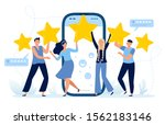 five stars mobile app feedback. ... | Shutterstock .eps vector #1562183146