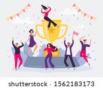winners team. happy people win... | Shutterstock .eps vector #1562183173