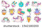 cute hand drawn patches. magic... | Shutterstock .eps vector #1562183203