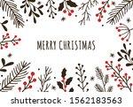 hand drawn winter christmas... | Shutterstock .eps vector #1562183563