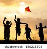 kids running on summer sunset... | Shutterstock . vector #156218906