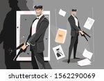 male spy with handgun vector... | Shutterstock .eps vector #1562290069