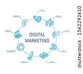 digital marketing isometric... | Shutterstock .eps vector #1562292610