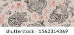 wolf head seamless pattern. old ... | Shutterstock .eps vector #1562314369