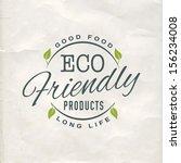 vintage eco green sticker label ... | Shutterstock .eps vector #156234008