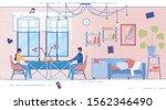 banner married couple working... | Shutterstock .eps vector #1562346490
