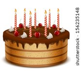 birthday cake with candles... | Shutterstock .eps vector #156235148