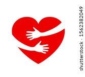 hugging heart  charity icon ... | Shutterstock .eps vector #1562382049