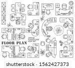 floor plan of office or cabinet ... | Shutterstock .eps vector #1562427373