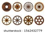 Wooden Wheel Vector Cartoon Set ...