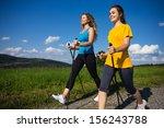 nordic walking   active people... | Shutterstock . vector #156243788