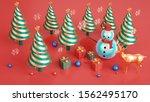christmas 3d render... | Shutterstock . vector #1562495170